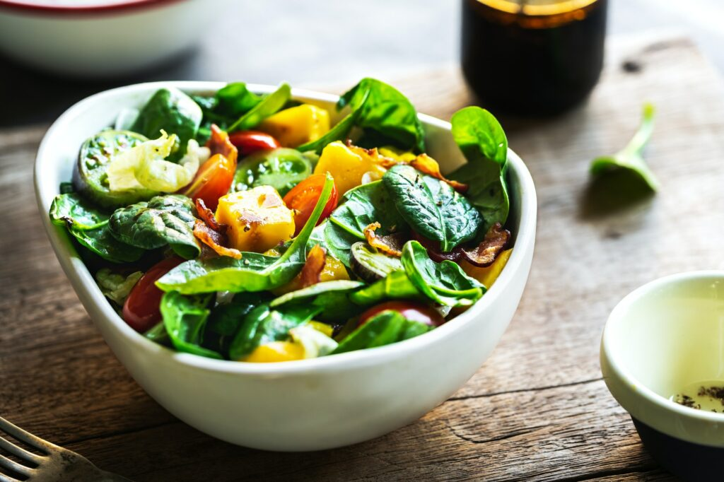 Mango with Bacon and Spinach Salad
